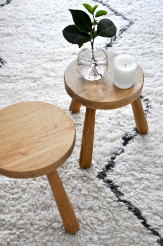 Vintage,Tabouret, Bois, Tripode, Charlotte Perriand,belordinaire, bel ordinaire